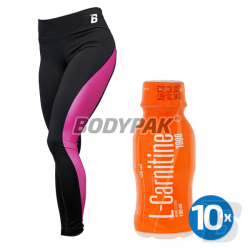 B-WEAR Legginsy BASIC RÓŻOWE [DAMSKIE] - 1 szt. + 10x Fitness Authority L-Carnitine 1000 - 100ml