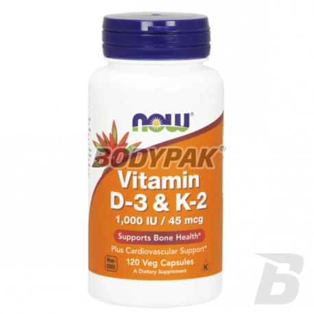 NOW Foods Vitamin D-3 & K2 - 120 kaps.