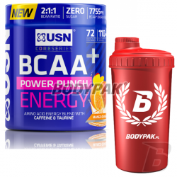 USN BCAA Power Punch Energy - 400g + BODYPAK Shaker RED AMBASADOR - 700ml [GRATIS]