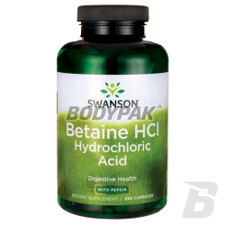Swanson Betaine HCl Hydrochloric Acid with Pepsin - 250 kaps.